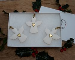 Angels Set of 3 Gold Hearts