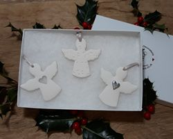 Angels Set of 3 Mix Silver Heart