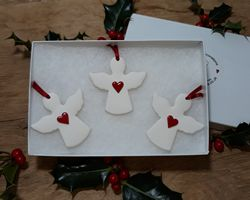 Angels Set of 3 Red Hearts