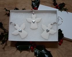 Angels Set of 3 Silver Hearts