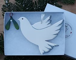 Peace Dove with Mistletoe