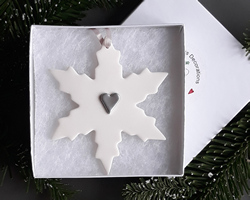 Snowflake Large Silver Heart